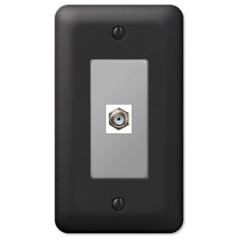 Devon Black Steel - 1 Cable Jack Wallplate - Wallplate Warehouse
