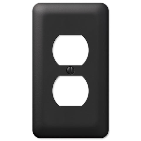 Devon Black Steel - 1 Duplex Outlet Wallplate - Wallplate Warehouse