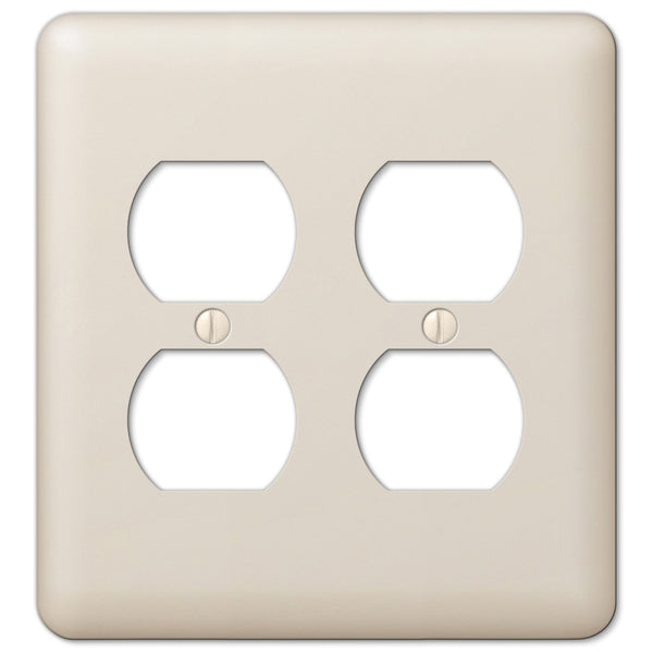 Devon Light Almond Steel - 2 Duplex Outlet Wallplate - Wallplate Warehouse