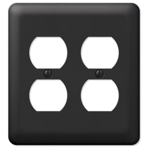 Devon Black Steel - 2 Duplex Outlet Wallplate - Wallplate Warehouse
