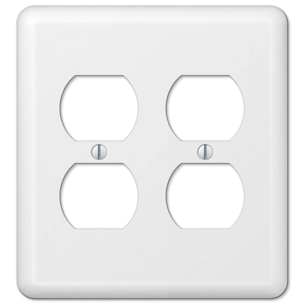 Devon White Steel - 2 Duplex Outlet Wallplate - Wallplate Warehouse