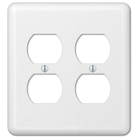 devon white steel 2 duplex outlet wallplate wallplate warehouse amerelle