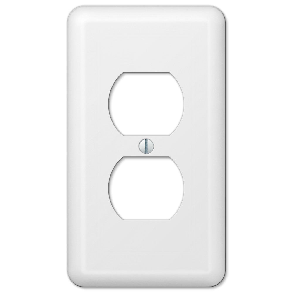 Devon White Steel - 1 Duplex Outlet Wallplate - Wallplate Warehouse