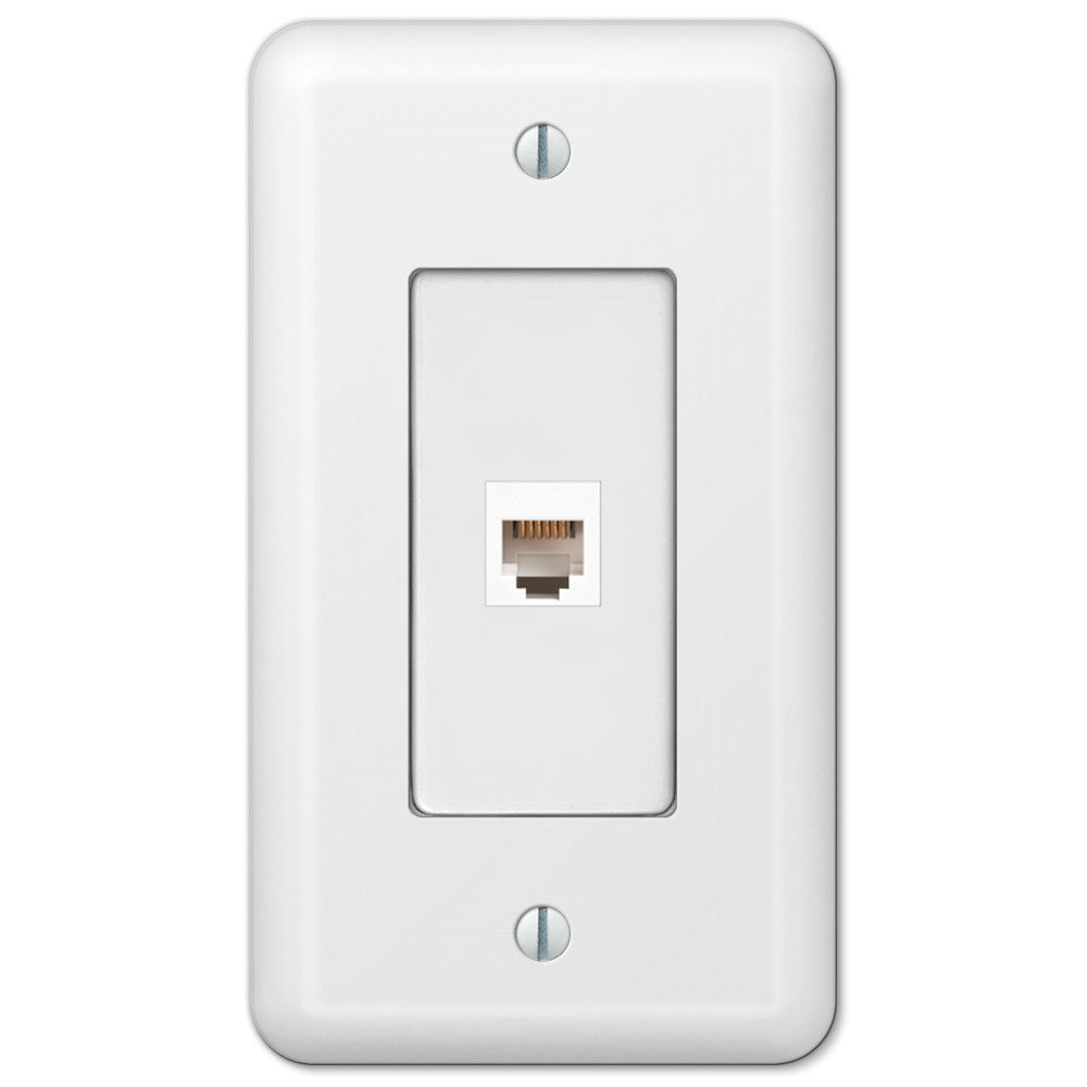 Devon White Steel - 1 Phone Jack Wallplate - Wallplate Warehouse