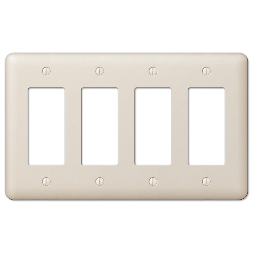 Devon Light Almond Steel - 4 Rocker Wallplate - Wallplate Warehouse