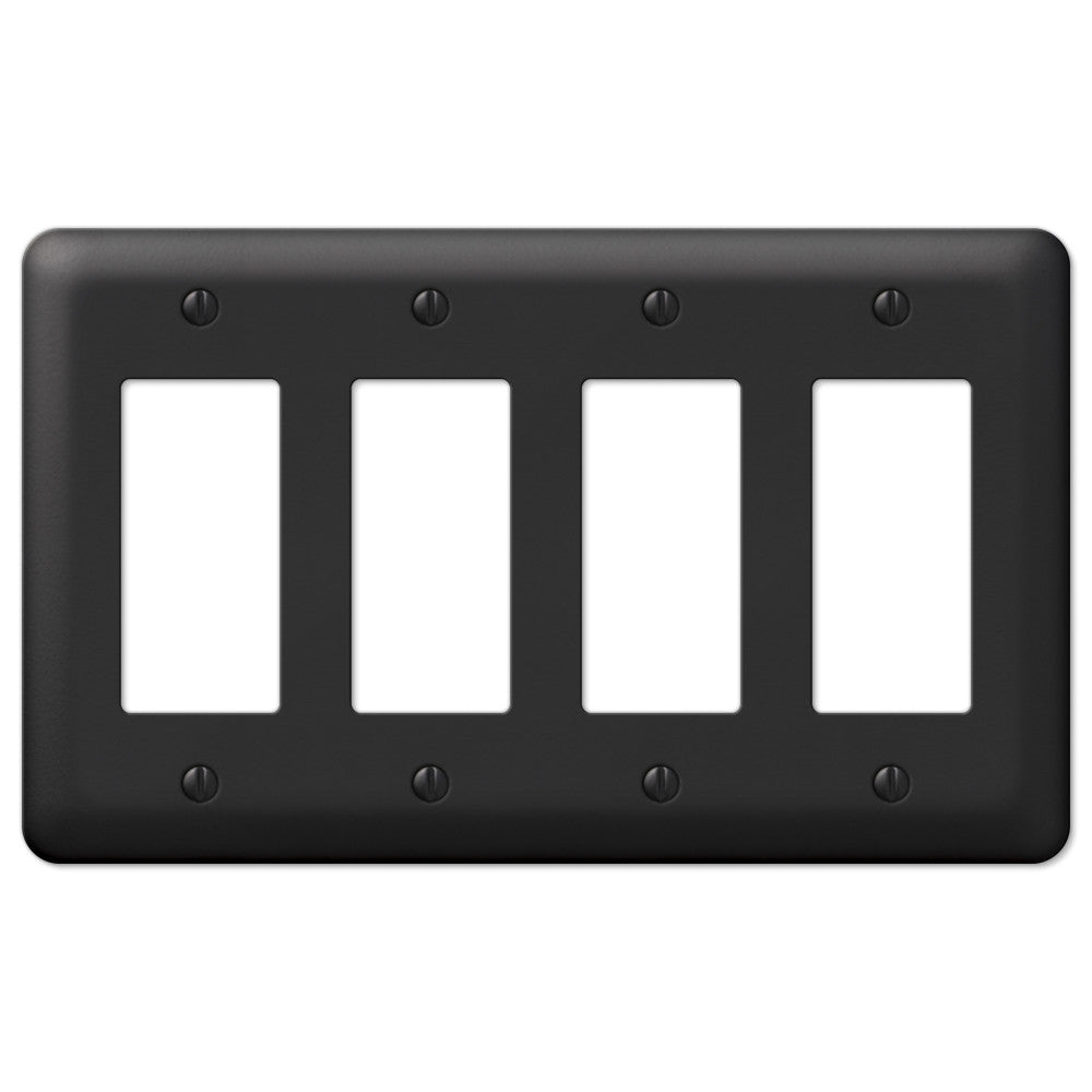 Devon Black Steel - 4 Rocker Wallplate - Wallplate Warehouse