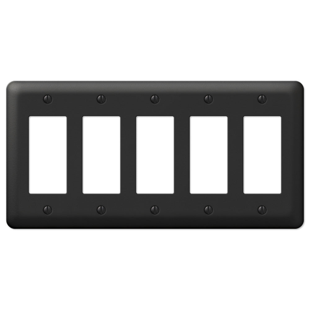 Devon Black Steel - 5 Rocker Wallplate - Wallplate Warehouse