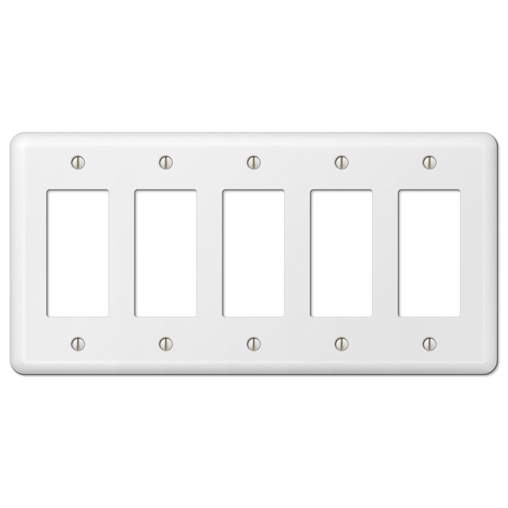 Devon White Steel - 5 Rocker Wallplate - Wallplate Warehouse