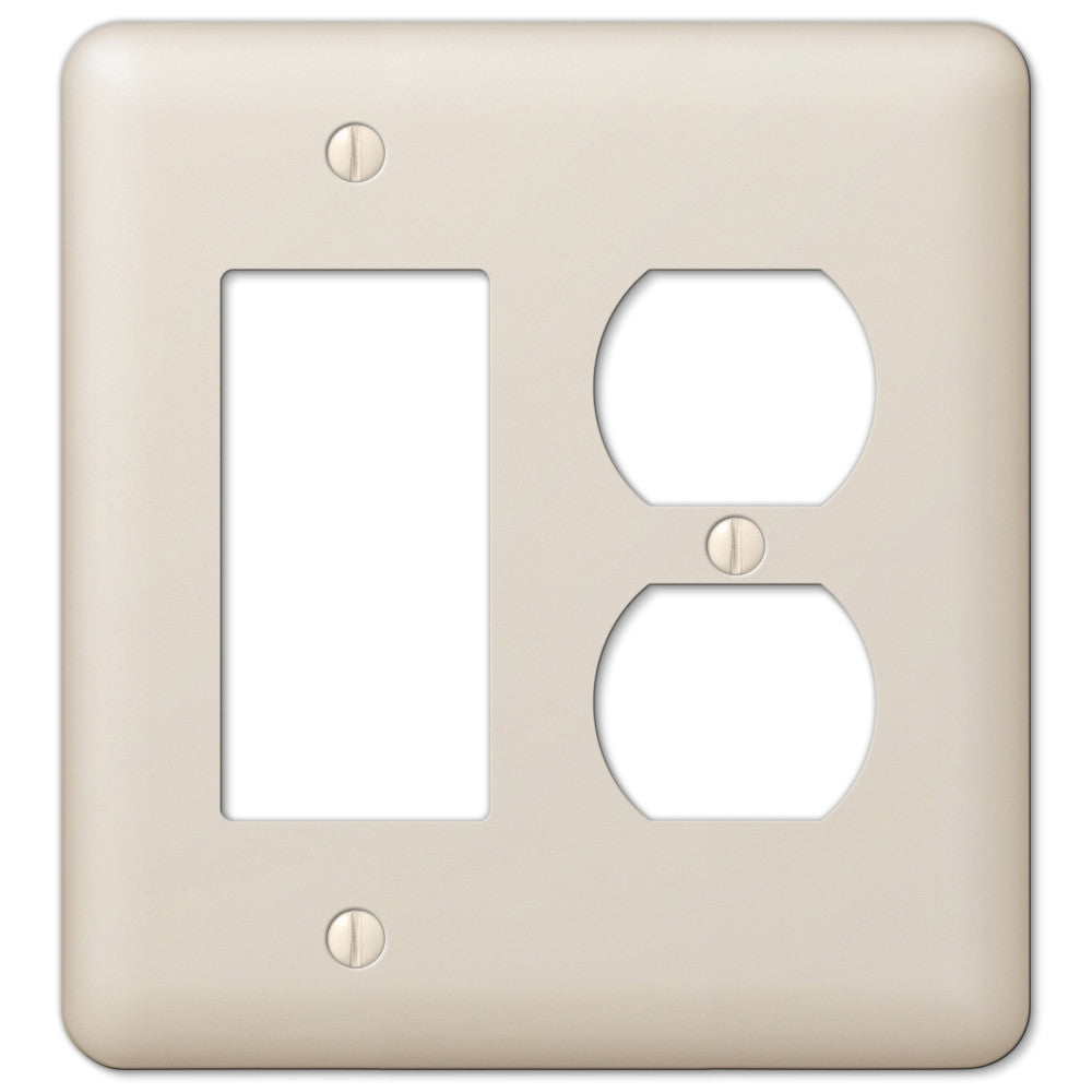 Devon Light Almond Steel - 1 Rocker / 1 Duplex Outlet Wallplate - Wallplate Warehouse
