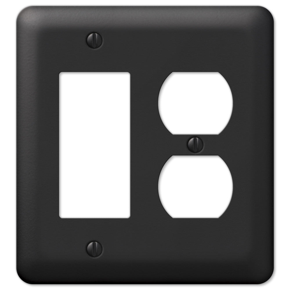 Devon Black Steel - 1 Rocker / 1 Duplex Outlet Wallplate - Wallplate Warehouse