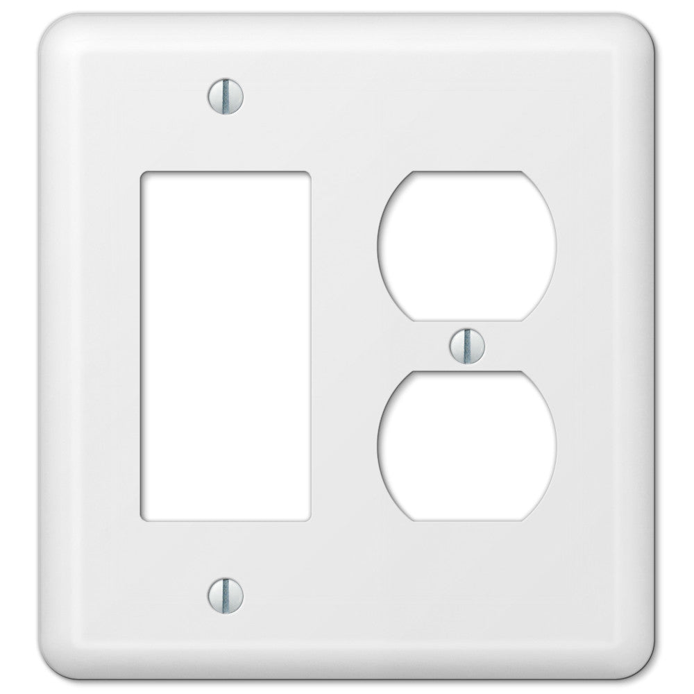 Devon White Steel - 1 Rocker / 1 Duplex Outlet Wallplate - Wallplate Warehouse