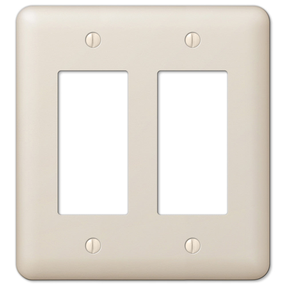Devon Light Almond Steel - 2 Rocker Wallplate - Wallplate Warehouse