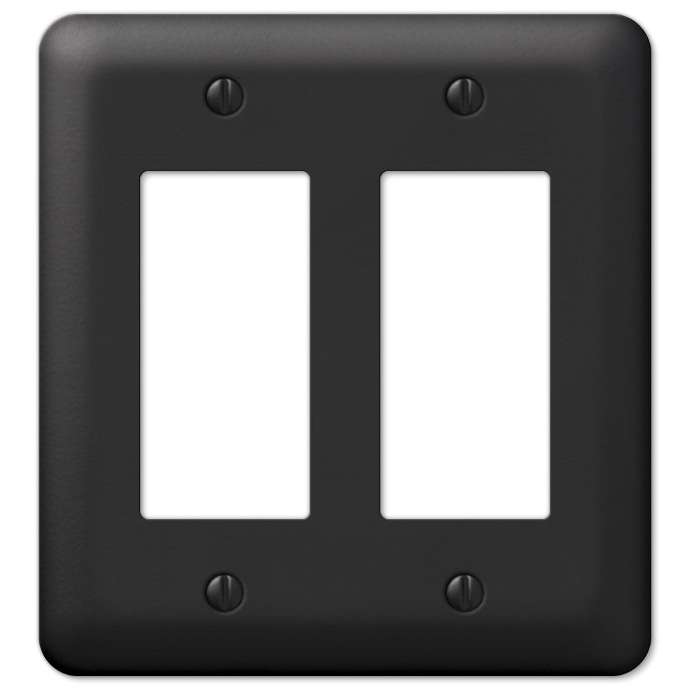 Devon Black Steel - 2 Rocker Wallplate - Wallplate Warehouse