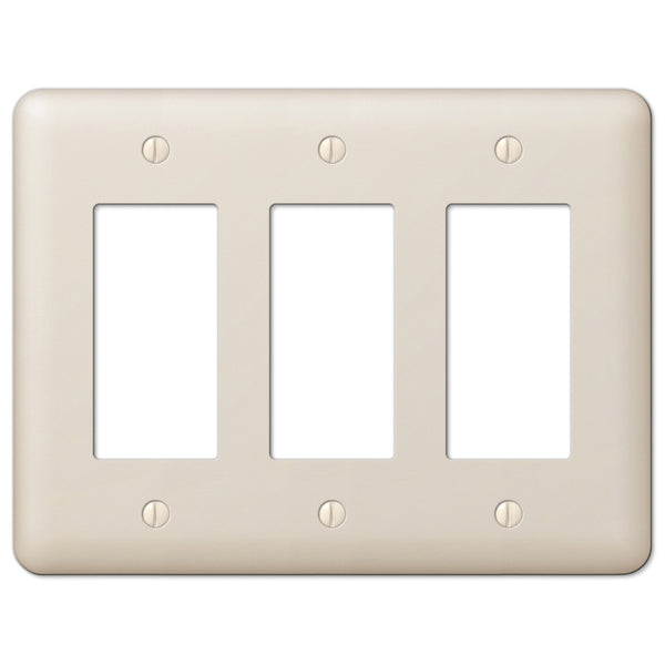 Devon Light Almond Steel - 3 Rocker Wallplate - Wallplate Warehouse