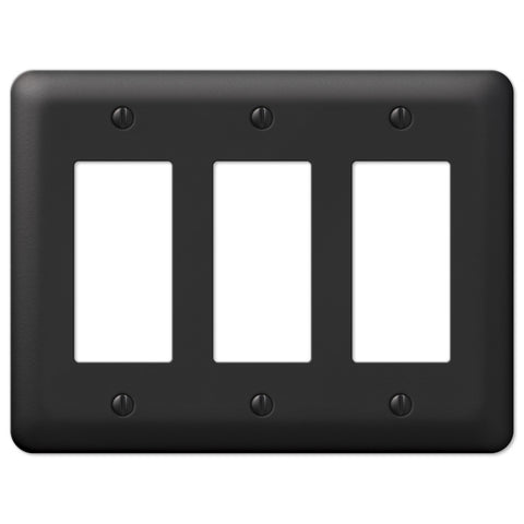 Devon Black Steel - 3 Rocker Wallplate - Wallplate Warehouse