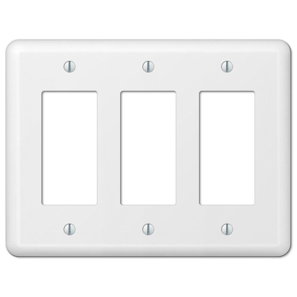 Devon White Steel - 3 Rocker Wallplate - Wallplate Warehouse