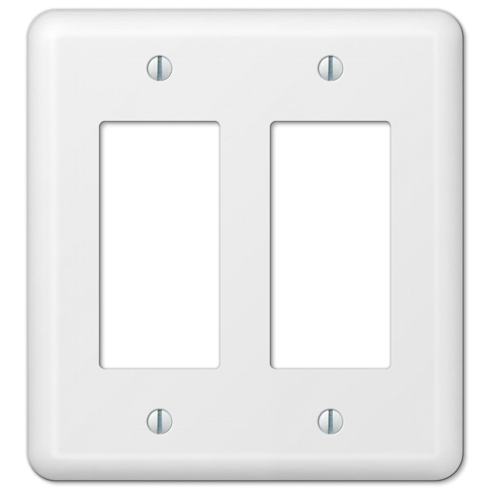 Devon White Steel - 2 Rocker Wallplate - Wallplate Warehouse
