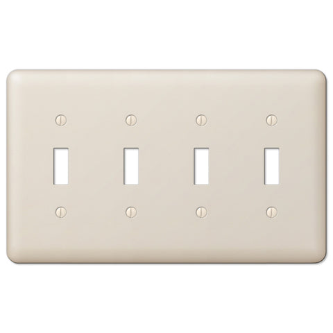 Devon Light Almond Steel - 4 Toggle Wallplate - Wallplate Warehouse