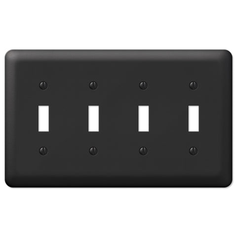 Devon Black Steel - 4 Toggle Wallplate - Wallplate Warehouse
