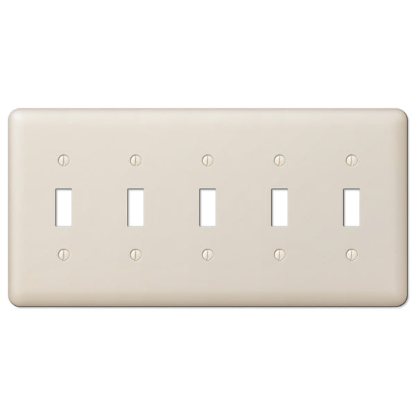 Devon Light Almond Steel - 5 Toggle Wallplate - Wallplate Warehouse