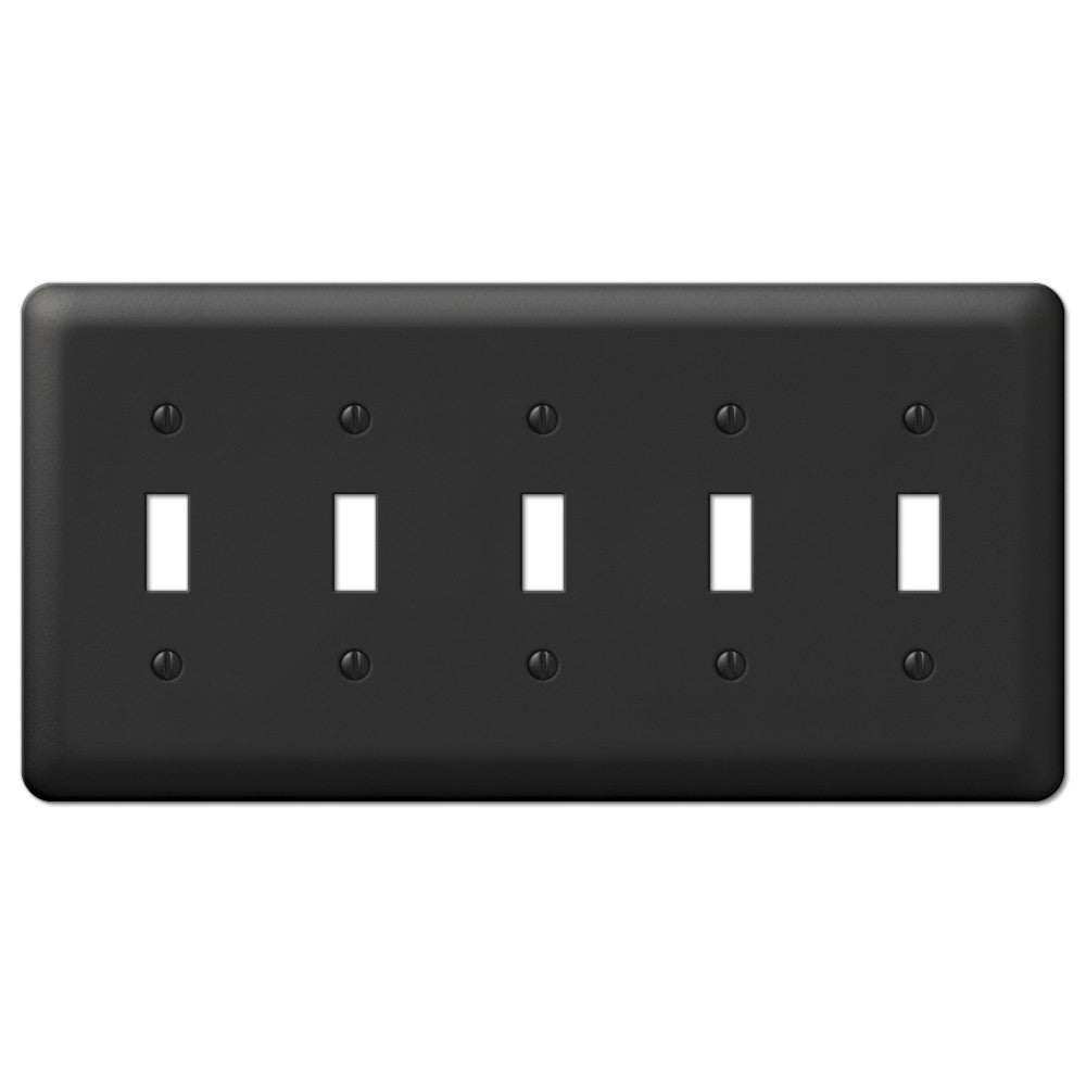 Devon Black Steel - 5 Toggle Wallplate - Wallplate Warehouse