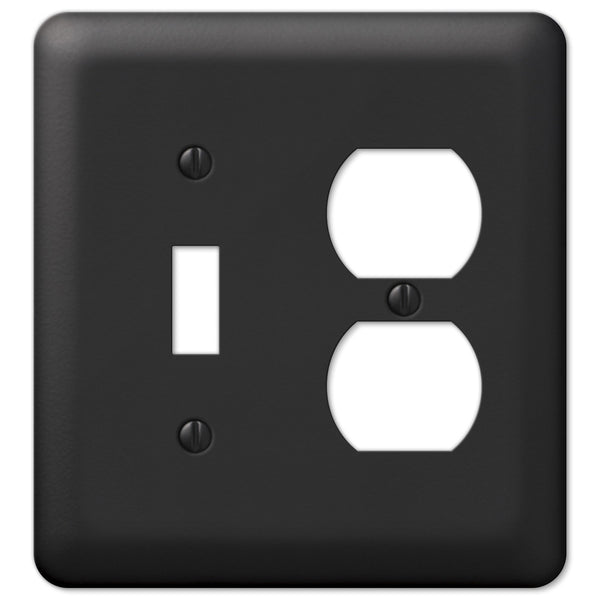 Devon Black Steel - 1 Toggle / 1 Duplex Outlet Wallplate - Wallplate Warehouse
