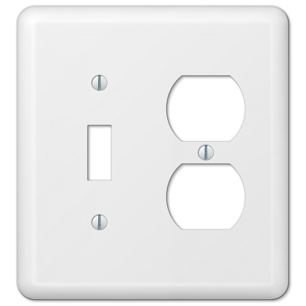 Devon White Steel - 1 Toggle / 1 Duplex Outlet Wallplate - Wallplate Warehouse
