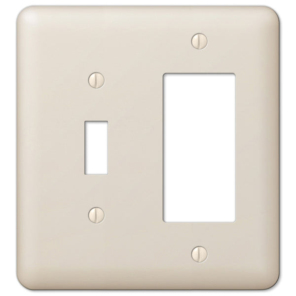 Devon Light Almond Steel - 1 Toggle / 1 Rocker Wallplate - Wallplate Warehouse