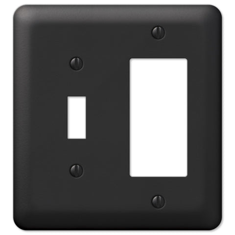 Devon Black Steel - 1 Toggle / 1 Rocker Wallplate - Wallplate Warehouse