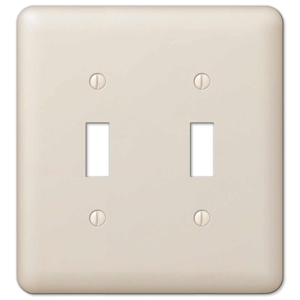 Devon Light Almond Steel - 2 Toggle Wallplate - Wallplate Warehouse