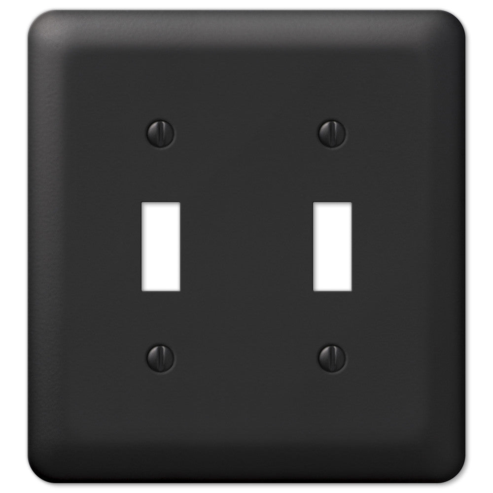 Devon Black Steel - 2 Toggle Wallplate - Wallplate Warehouse