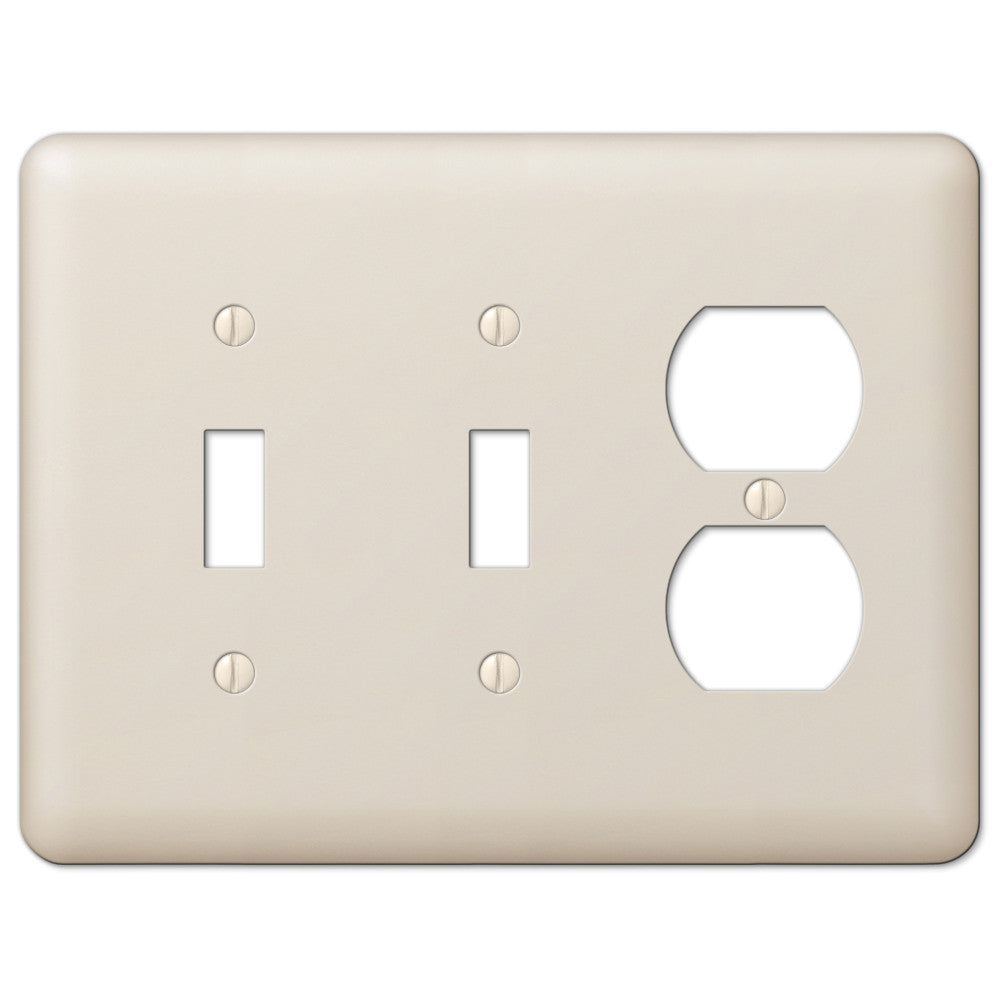 Devon Light Almond Steel - 2 Toggle / 1 Duplex Outlet Wallplate - Wallplate Warehouse