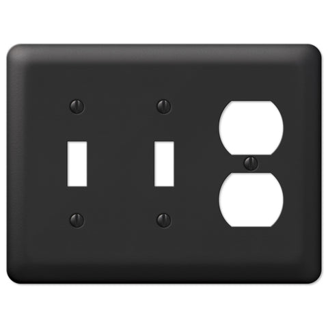 Devon Black Steel - 2 Toggle / 1 Duplex Outlet Wallplate - Wallplate Warehouse
