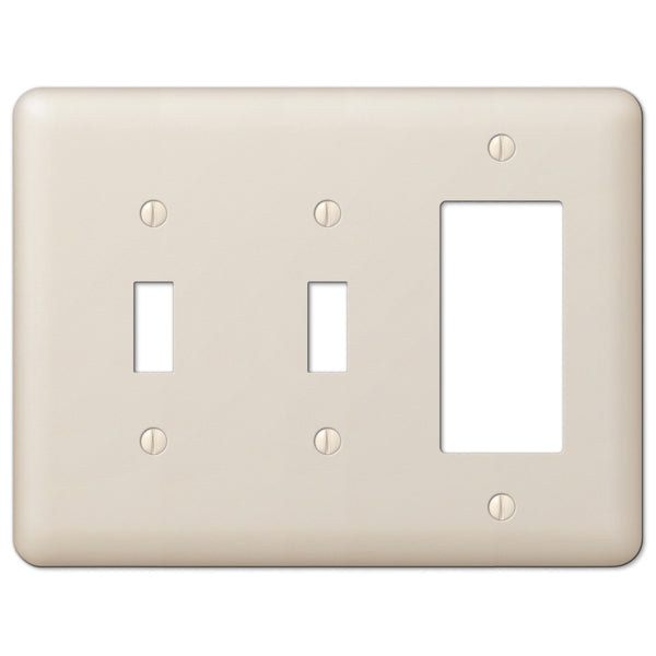 Devon Light Almond Steel - 2 Toggle / 1 Rocker Wallplate - Wallplate Warehouse