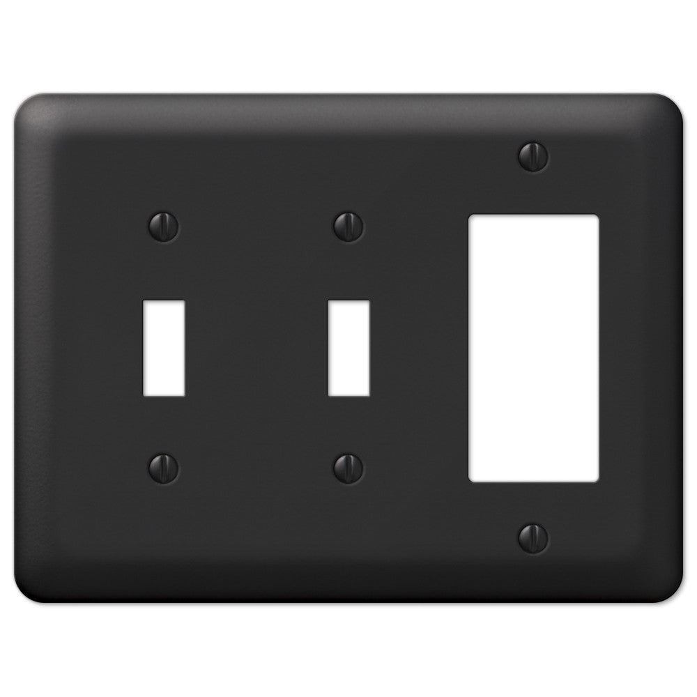 Devon Black Steel - 2 Toggle / 1 Rocker Wallplate - Wallplate Warehouse