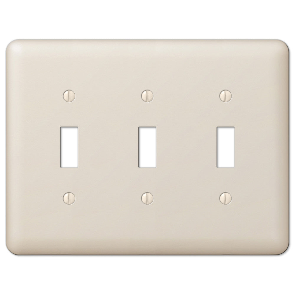 Devon Light Almond Steel - 3 Toggle Wallplate - Wallplate Warehouse