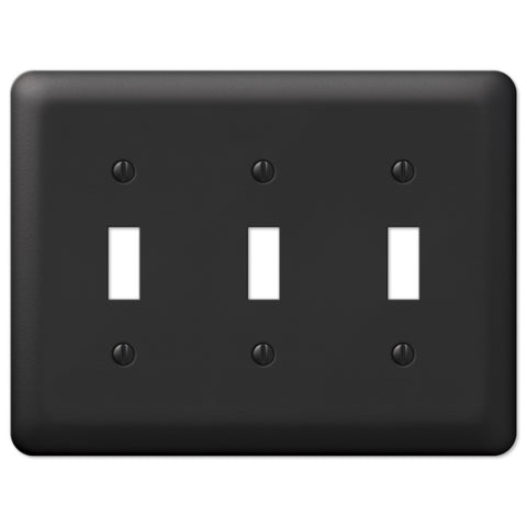 Devon Black Steel - 3 Toggle Wallplate - Wallplate Warehouse