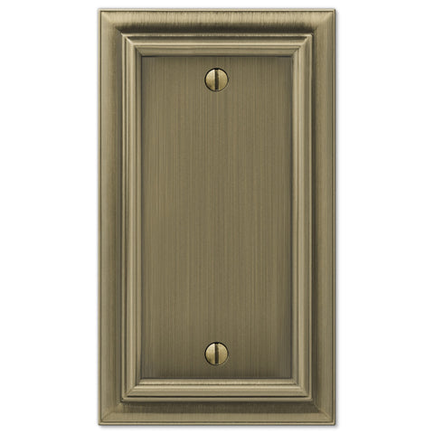 Continental Brushed Brass Cast - 1 Blank Wallplate - Wallplate Warehouse