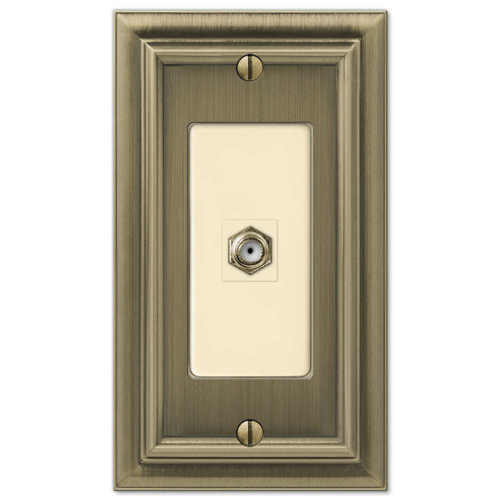 Continental Brushed Brass Cast - 1 Cable Jack Wallplate - Wallplate Warehouse