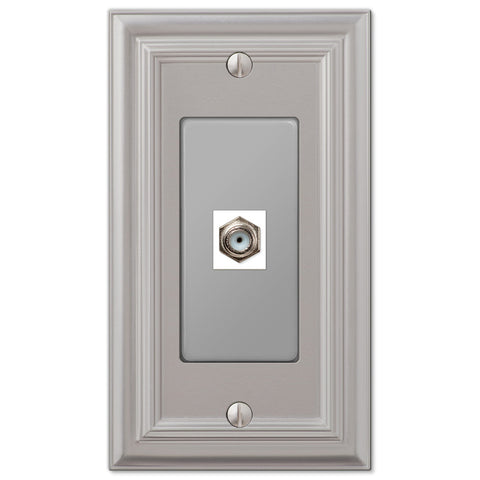 Continental Satin Nickel Cast - 1 Cable Jack Wallplate - Wallplate Warehouse