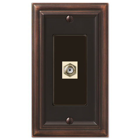 Continental Aged Bronze Cast - 1 Cable Jack Wallplate - Wallplate Warehouse