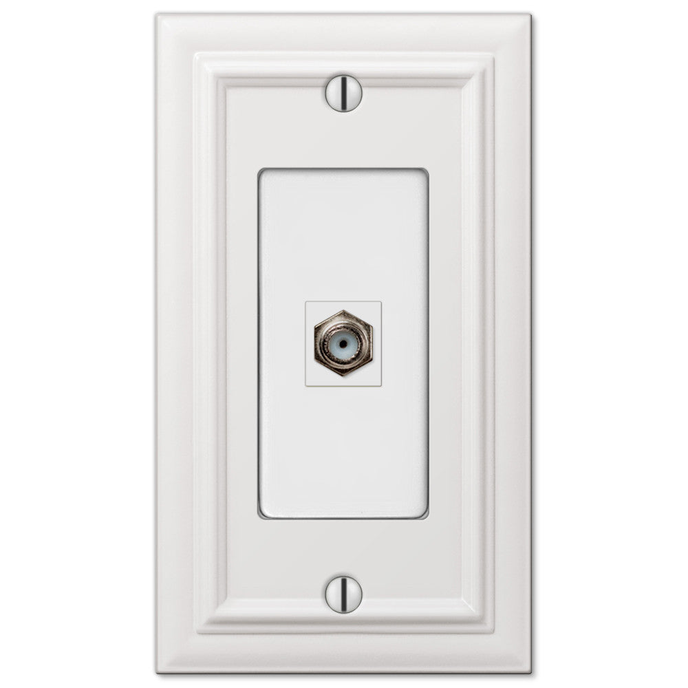 Continental White Cast - 1 Cable Jack Wallplate - Wallplate Warehouse