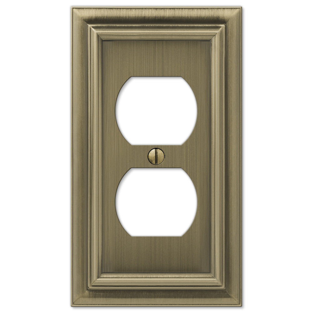 Continental Brushed Brass Cast - 1 Duplex Outlet Wallplate - Wallplate Warehouse