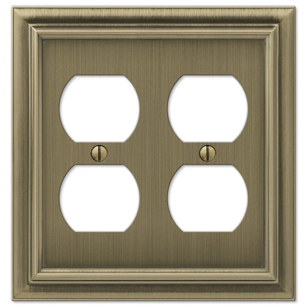 Continental Brushed Brass Cast - 2 Duplex Outlet Wallplate - Wallplate Warehouse