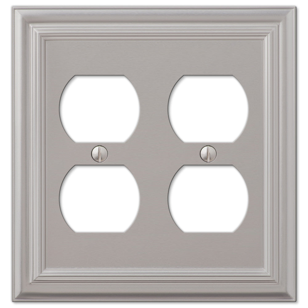 Continental Satin Nickel Cast - 2 Duplex Outlet Wallplate - Wallplate Warehouse