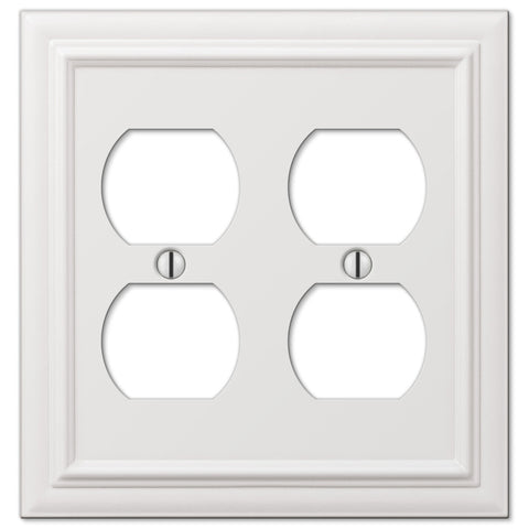 Continental White Cast - 2 Duplex Outlet Wallplate - Wallplate Warehouse
