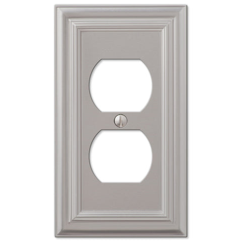 Continental Satin Nickel Cast - 1 Duplex Outlet Wallplate - Wallplate Warehouse