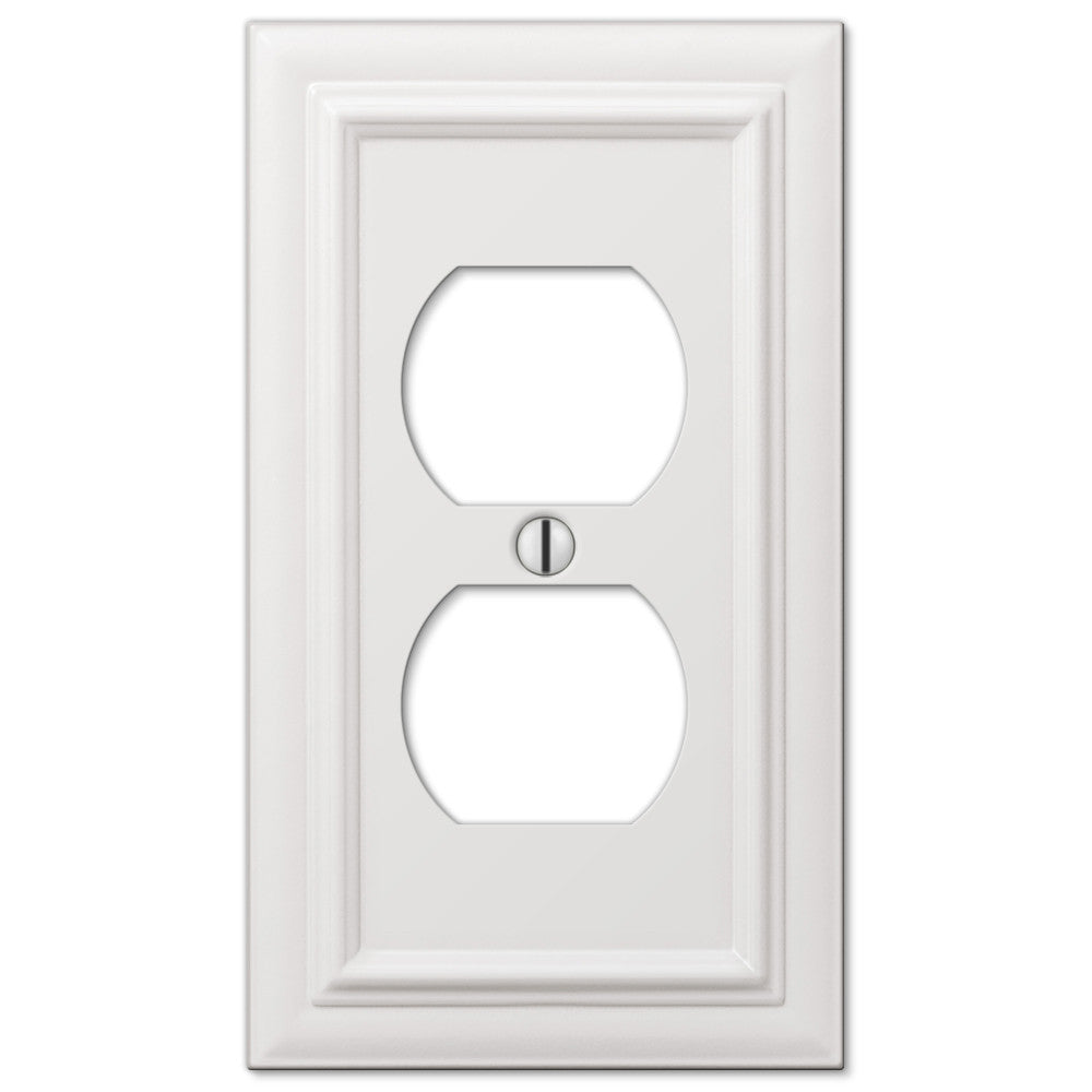 Continental White Cast - 1 Duplex Outlet Wallplate - Wallplate Warehouse