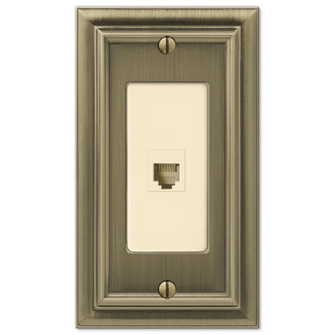 Continental Brushed Brass Cast - 1 Phone Jack Wallplate - Wallplate Warehouse