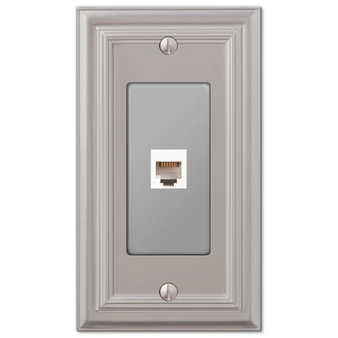 Continental Satin Nickel Cast - 1 Phone Jack Wallplate - Wallplate Warehouse